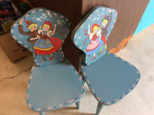 Retro hand crafted hand painted children's chairs
