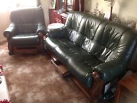 Leather Three seater settee and 1 Chair Free.