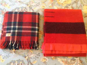 Vintage Red Point & Plaid Wool Blankets- clean, cottage, cabin