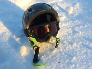 Youth ski helmet and goggles