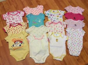 15  baby girl short sleeve diaper shirts, size 3-6 months