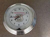 Chrome Route 66 Quartz Wall Clock