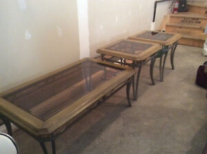 Mint...glass top coffee and end table set