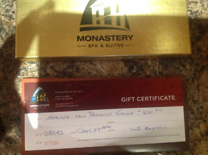 $100 Spa at the Monestary Gift Certificate