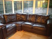 Leather corner sofa and chair