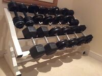 Weights - Dumbbells and heavy duty weight rack