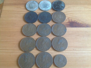 1859 - 1920 CANADIAN LARGE & SMALL 1 CENT COINS (15 COINS)
