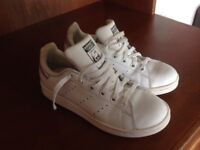 Super As New Adidas Stan Smith white leather trainers size 3/3.5