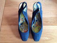 Blue sling back shoes