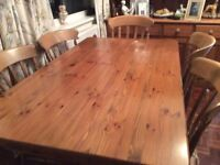 TABLE & 6 CHAIRS - SOLID PINE LITTLE USED