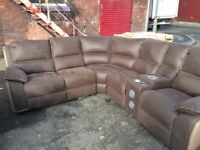Harvey Holden reclining corner sofas with drink compartment ex display model