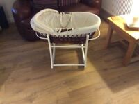 Mothercare Moses basket and white wooden stand