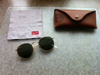 Gold Round Metal Frame Ray Ban Sun Glasses