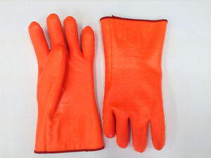 Fluorescent PVC coated gloves