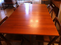 Danish Teak Drop Leaf Gate Leg Hide-A-Way Table and Chairs