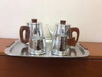 Sona stainless steel tea set and tray