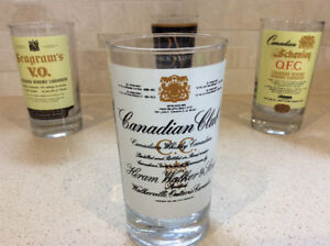 4 Whiskey Glasses, Canadian Club, Black Velvet etc...