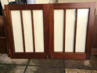 Pair SOLID Mahogany GLAZED DOORS - Superb Quality & Condition