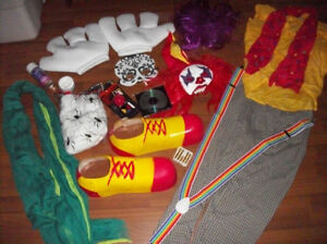 Lot of Halloween Circus Costumes and Decorations
