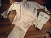 adult karate suit with shin pads