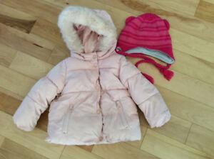 Manteau d'hiver 12-18 mois pour fille, tuque incluse