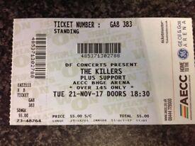 1 X standing Killers ticket for Aberdeen tonight
