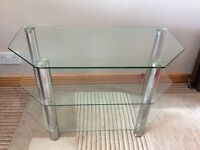 TV Stand glass & chrome.