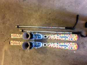 Downhill Skis size 120 cm,  Boots, Poles
