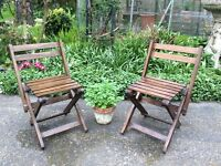 1/pair Vintage Childs wooden garden deck chairs