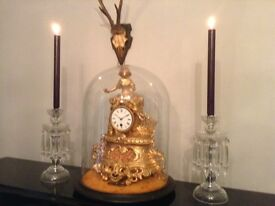 Dazzling glass vintage antique lustre candle holders