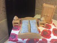 Wooden Doll's House Bedroom Furniture Set