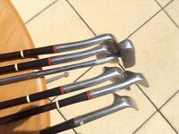 COLLECTION OF VINTAGE GOLF IRONS AND PUTTER RIGHT HANDED WITH LEATHER GRIPS.