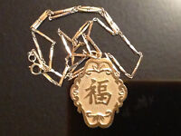 14K Gold Ladies Pendant ( Good Luck ) and Chain from Hong Kong
