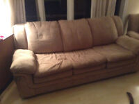 Tan coloured couch and  chair to give away