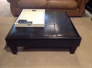 Faux Leather Ottoman / Table
