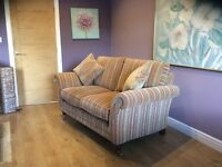Parker Knoll 2 seater sofa in Baslow gold stripe.