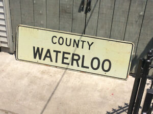 "Vintage wood ""COUNTY WATERLOO"" highway sign !"