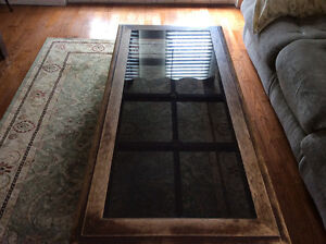 Solid wood coffee table and 2 end tables , glass insert