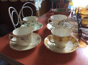 4 lovely English bone china cups and saucers