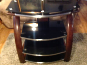 Four tier glass and wood tv stand