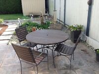 Real Teak Wood and Wrought Iron Patio set