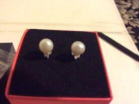Real silver earrings set real pearls 3 sets earrings new