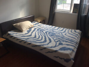 Double bed with mattress with dresser van chair and couch