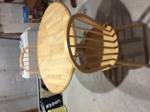 Solid Birch Table, drop leafs on each side & 2 Windsor Chairs