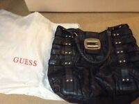 Genuine black leather Guess handbag with dust bag only used twice excellent condition