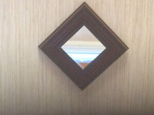10 inch square solid wood accent mirror
