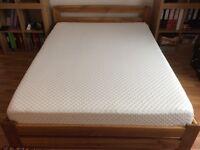 Solid Oak King size bed with Silentnight memory foam mattress