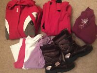 Girls skiwear (7 to 9 years), jacket, trousers, tops, snowboots (size 2)