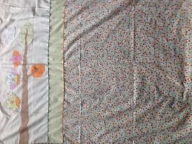 Cot bedding and matching curtains