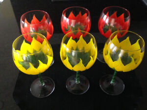 Exquisite Hand Painted Wine Glasses (6 pc)